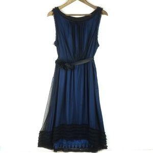 Moulinette Soeurs Black Blue Silk Lace Belt Dress